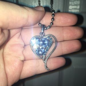 💎BLUE CRYSTAL HEART BALLCHAIN ANGEL NECKLACE
